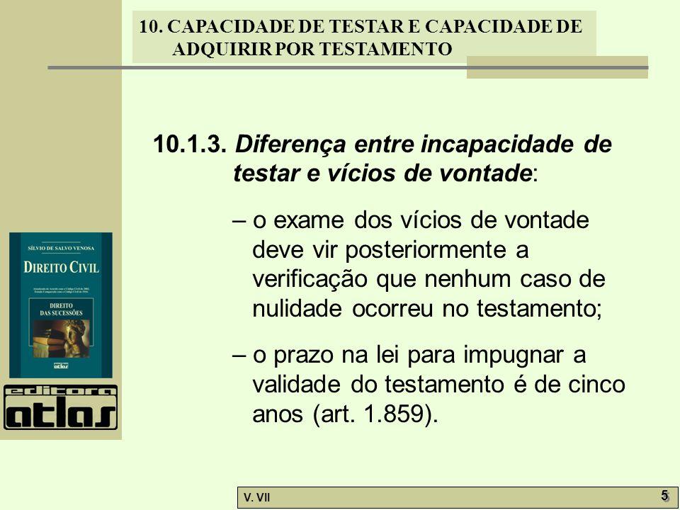 10. CAPACIDADE DE TESTAR E CAPACIDADE DE ADQUIRIR POR TESTAMENTO V. VII 5 5 10.1.3. Diferença entre incapacidade de testar e vícios de vontade: – o ex