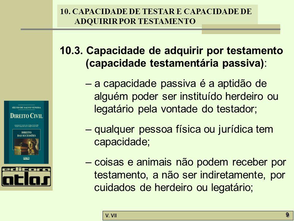 10. CAPACIDADE DE TESTAR E CAPACIDADE DE ADQUIRIR POR TESTAMENTO V. VII 9 9 10.3. Capacidade de adquirir por testamento (capacidade testamentária pass