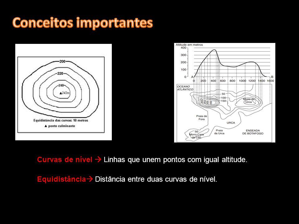 Curvas de nível Linhas que unem pontos com igual altitude. Equidistância Distância entre duas curvas de nível.