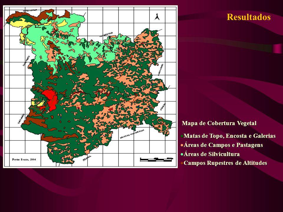 Resultados Mapa de Cobertura Vegetal Mapa de Cobertura Vegetal Matas de Topo, Encosta e Galerias Matas de Topo, Encosta e Galerias Áreas de Campos e P