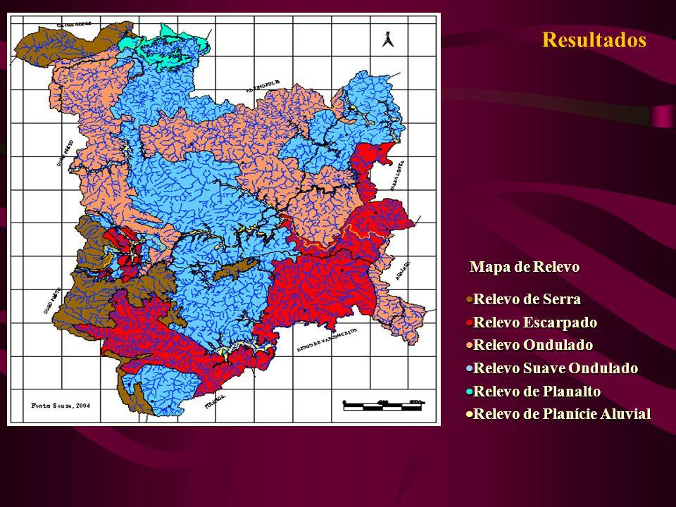 Resultados Mapa de Relevo Mapa de Relevo Relevo de Serra Relevo de Serra Relevo Escarpado Relevo Escarpado Relevo Ondulado Relevo Ondulado Relevo Suav