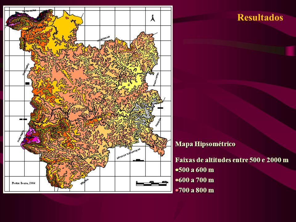 Resultados Mapa Hipsométrico Faixas de altitudes entre 500 e 2000 m 500 a 600 m 500 a 600 m 600 a 700 m 600 a 700 m 700 a 800 m 700 a 800 m