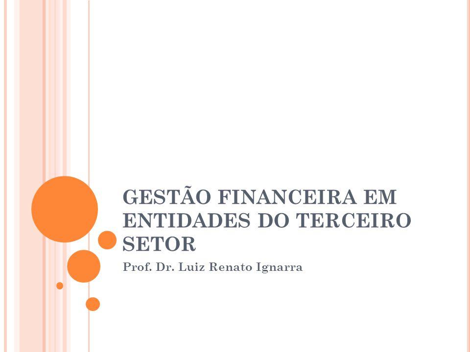 GESTÃO FINANCEIRA EM ENTIDADES DO TERCEIRO SETOR Prof. Dr. Luiz Renato Ignarra