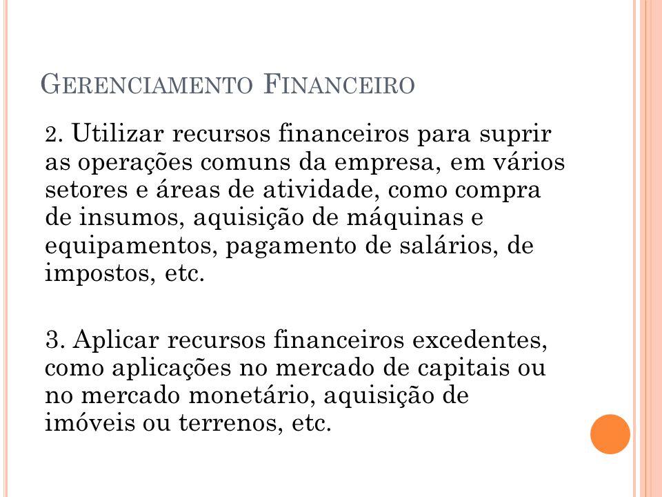 G ERENCIAMENTO F INANCEIRO 2. Utilizar recursos financeiros para suprir as operações comuns da empresa, em vários setores e áreas de atividade, como c