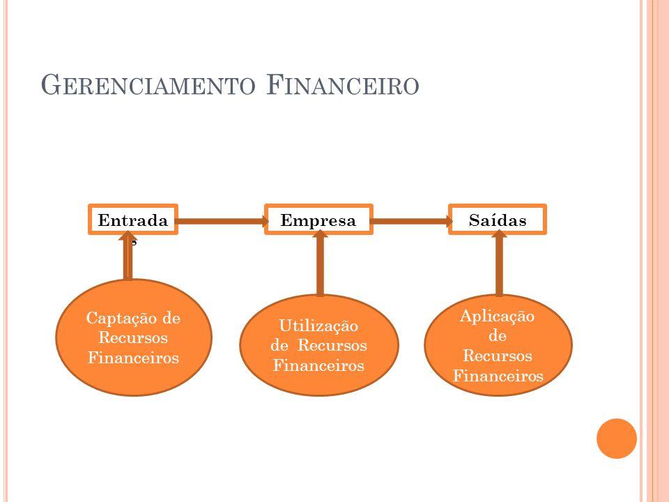 G ERENCIAMENTO F INANCEIRO Entrada s EmpresaSaídas Captação de Recursos Financeiros Utilização de Recursos Financeiros Aplicação de Recursos Financeir