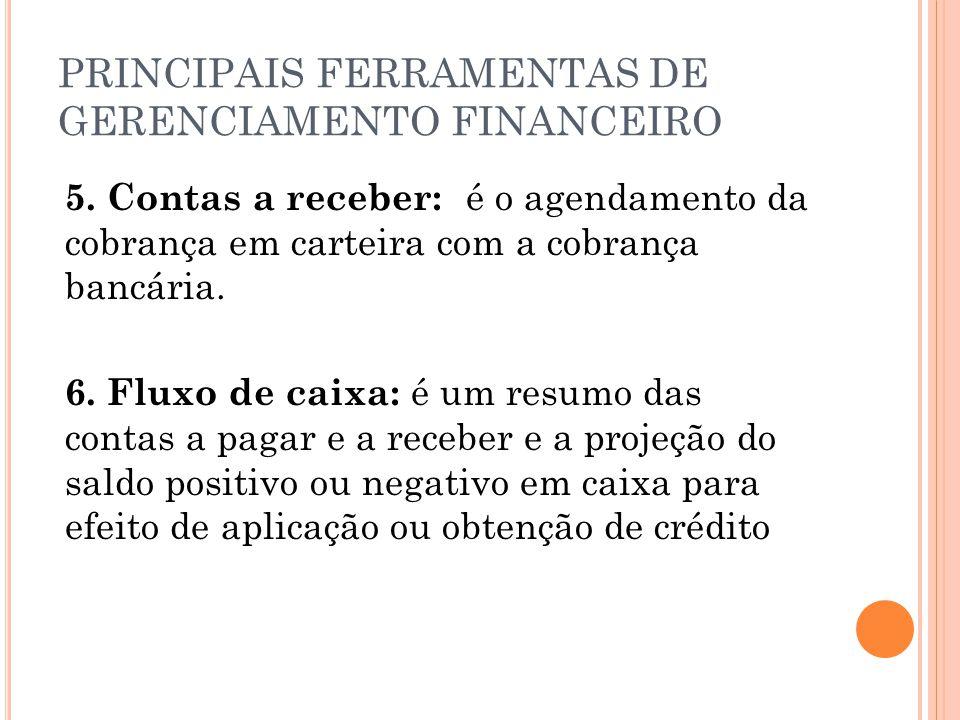 PRINCIPAIS FERRAMENTAS DE GERENCIAMENTO FINANCEIRO 5. Contas a receber: é o agendamento da cobrança em carteira com a cobrança bancária. 6. Fluxo de c