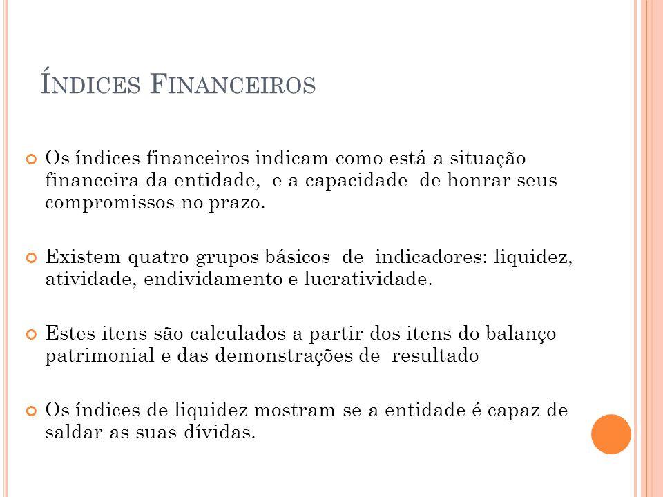 Í NDICES F INANCEIROS Os índices financeiros indicam como está a situação financeira da entidade, e a capacidade de honrar seus compromissos no prazo.