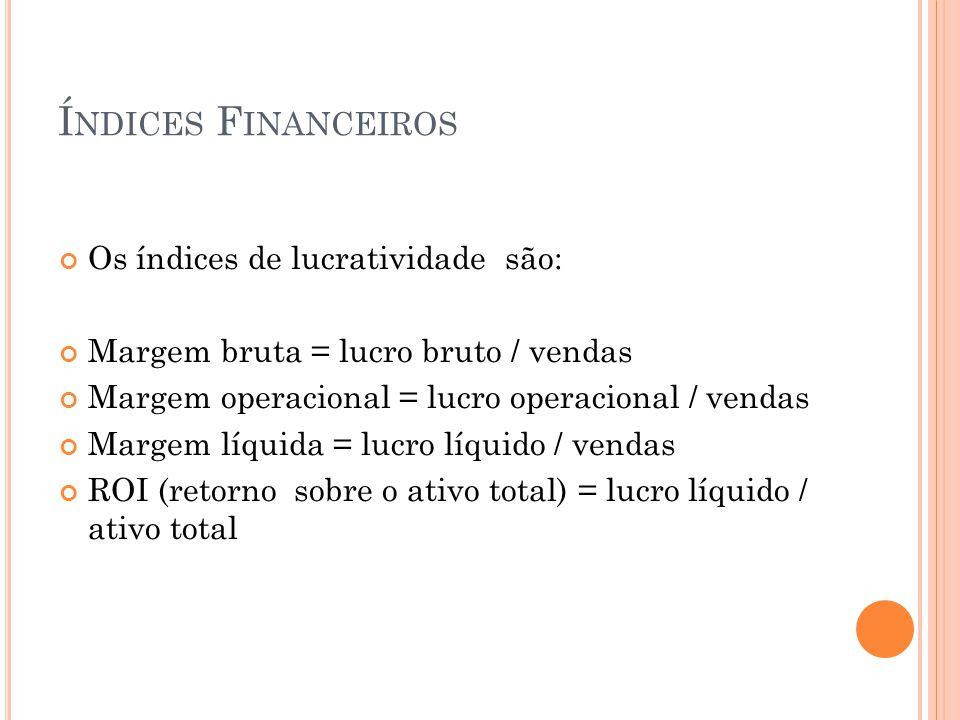 Í NDICES F INANCEIROS Os índices de lucratividade são: Margem bruta = lucro bruto / vendas Margem operacional = lucro operacional / vendas Margem líqu