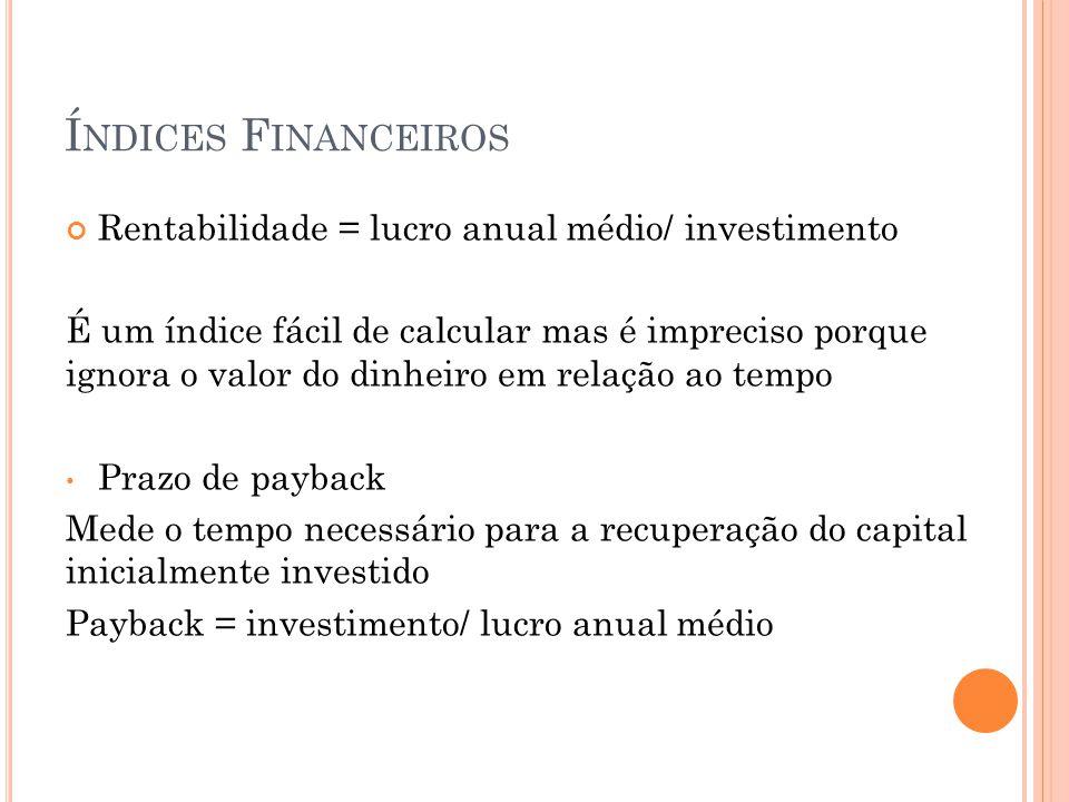 Í NDICES F INANCEIROS Rentabilidade = lucro anual médio/ investimento É um índice fácil de calcular mas é impreciso porque ignora o valor do dinheiro