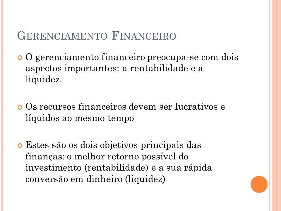 G ERENCIAMENTO F INANCEIRO O gerenciamento financeiro preocupa-se com dois aspectos importantes: a rentabilidade e a liquidez. Os recursos financeiros