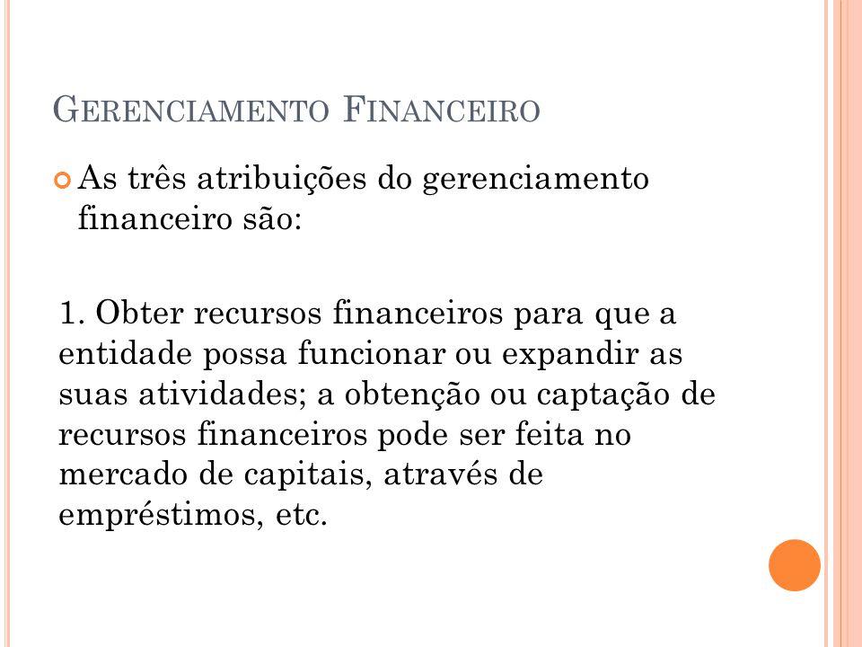 G ERENCIAMENTO F INANCEIRO As três atribuições do gerenciamento financeiro são: 1. Obter recursos financeiros para que a entidade possa funcionar ou e