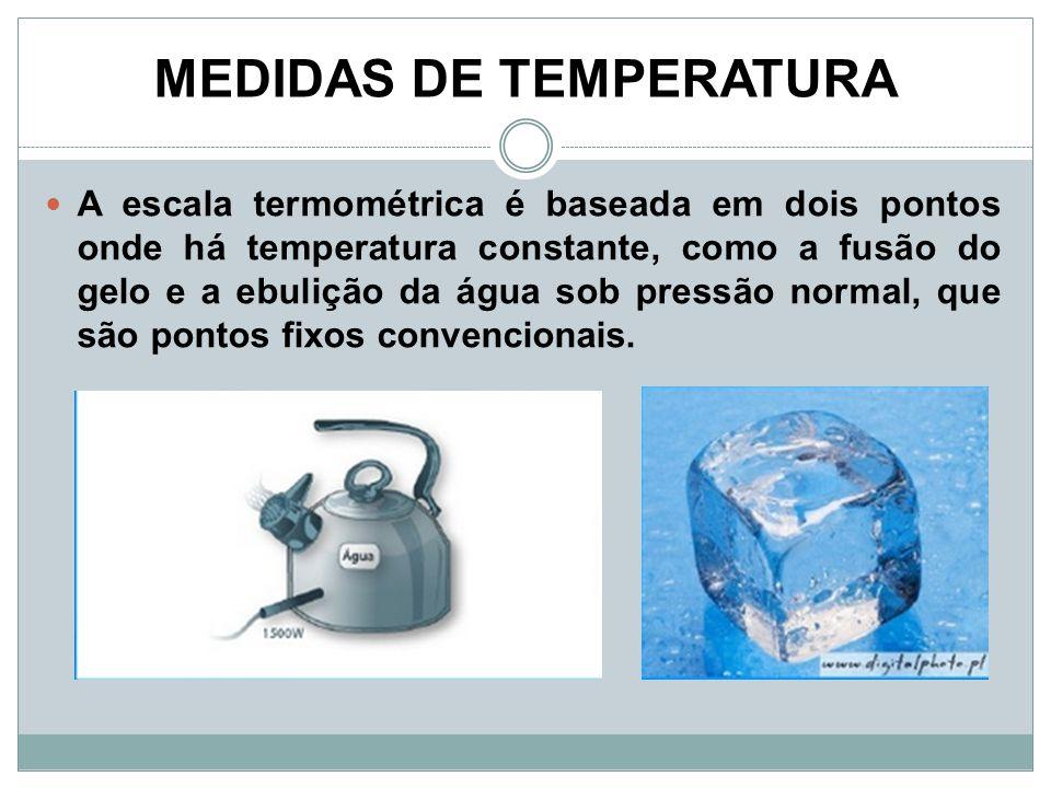 MEDIDAS DE TEMPERATURA A escala termométrica é baseada em dois pontos onde há temperatura constante, como a fusão do gelo e a ebulição da água sob pre