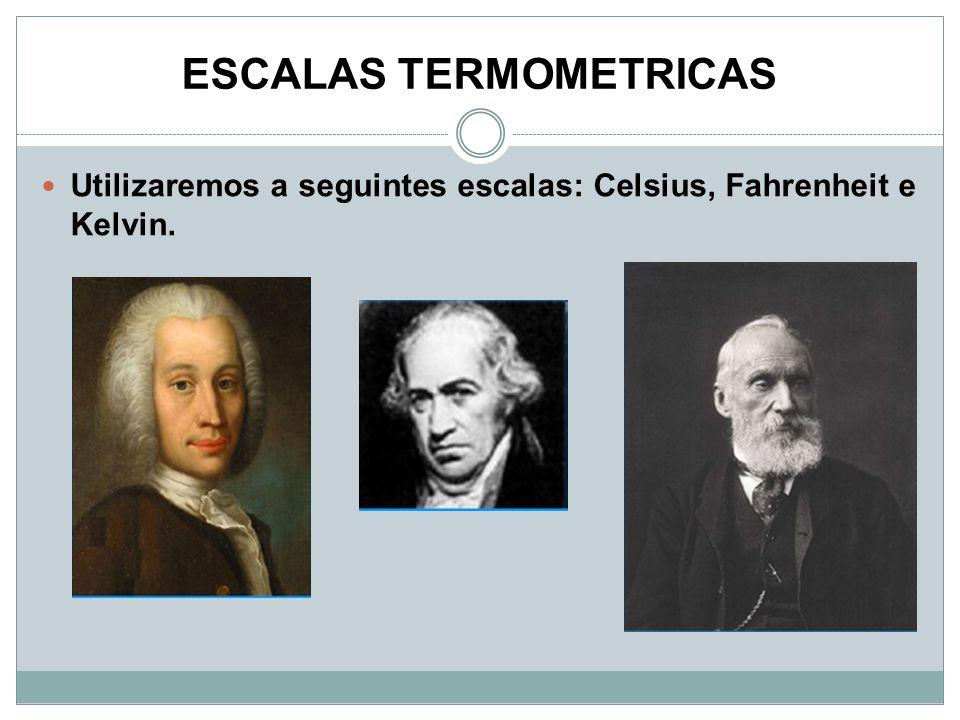 ESCALAS TERMOMETRICAS Utilizaremos a seguintes escalas: Celsius, Fahrenheit e Kelvin.
