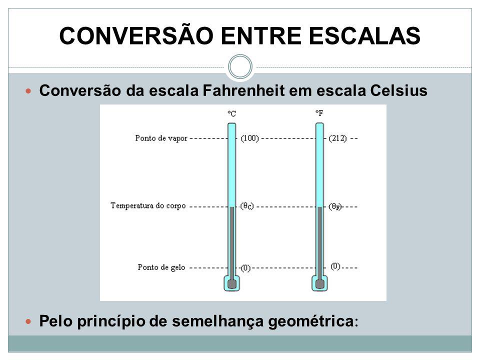 CONVERSÃO ENTRE ESCALAS Conversão da escala Fahrenheit em escala Celsius Pelo princípio de semelhança geométrica :