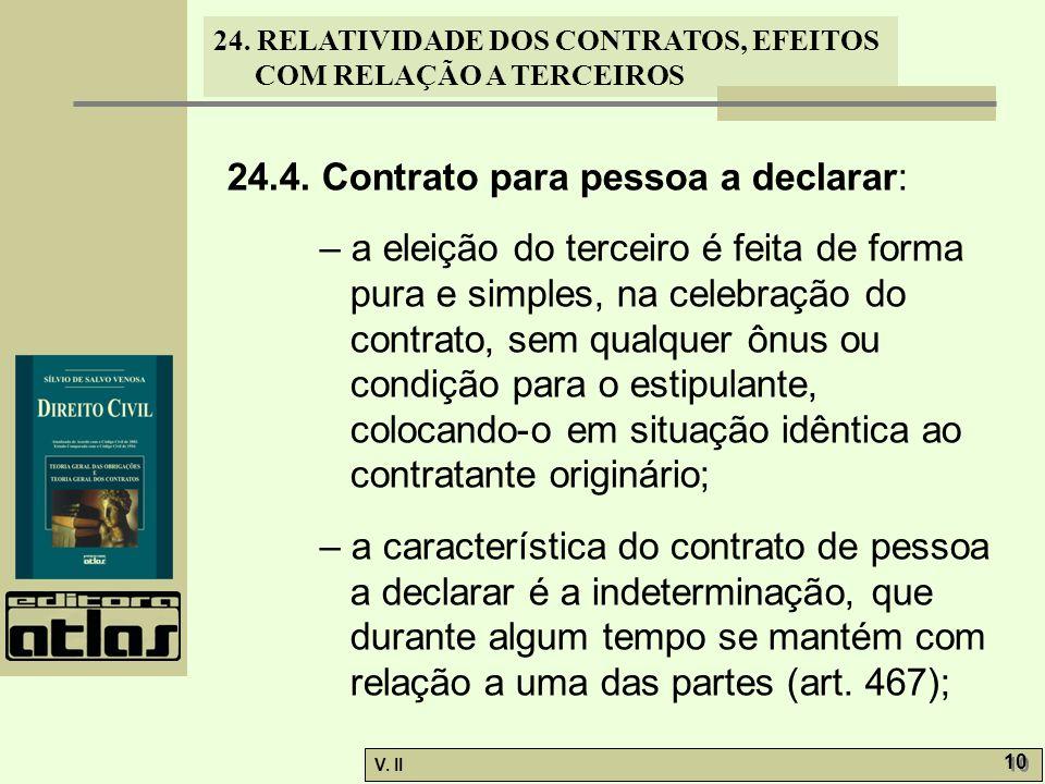 24. RELATIVIDADE DOS CONTRATOS, EFEITOS COM RELAÇÃO A TERCEIROS V. II 10 24.4. Contrato para pessoa a declarar: – a eleição do terceiro é feita de for