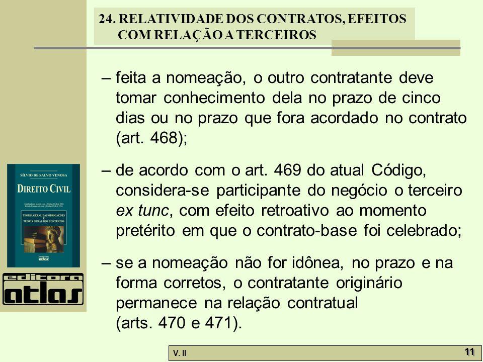 24. RELATIVIDADE DOS CONTRATOS, EFEITOS COM RELAÇÃO A TERCEIROS V. II 11 – feita a nomeação, o outro contratante deve tomar conhecimento dela no prazo