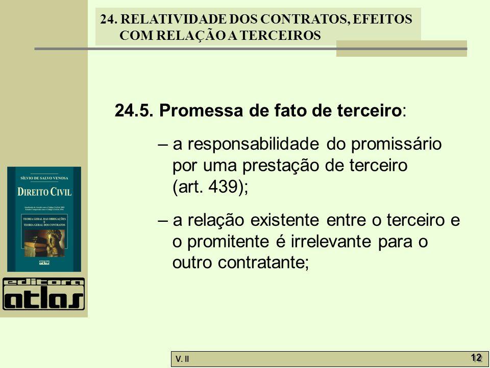 24. RELATIVIDADE DOS CONTRATOS, EFEITOS COM RELAÇÃO A TERCEIROS V. II 12 24.5. Promessa de fato de terceiro: – a responsabilidade do promissário por u