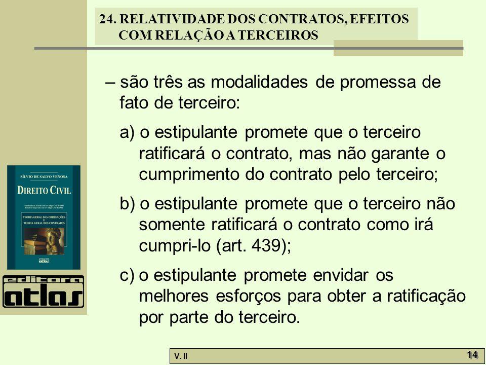 24. RELATIVIDADE DOS CONTRATOS, EFEITOS COM RELAÇÃO A TERCEIROS V. II 14 – são três as modalidades de promessa de fato de terceiro: a) o estipulante p
