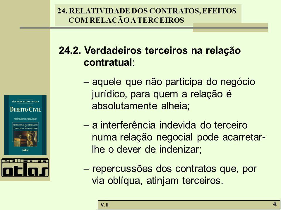 24. RELATIVIDADE DOS CONTRATOS, EFEITOS COM RELAÇÃO A TERCEIROS V. II 4 4 24.2. Verdadeiros terceiros na relação contratual: – aquele que não particip