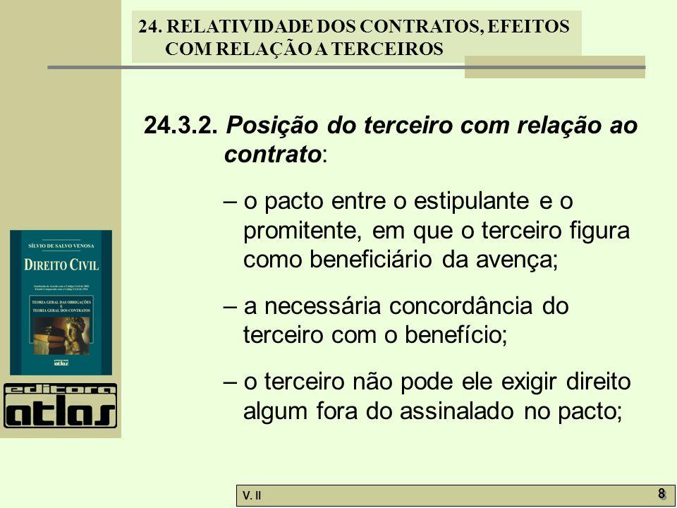 24. RELATIVIDADE DOS CONTRATOS, EFEITOS COM RELAÇÃO A TERCEIROS V. II 8 8 24.3.2. Posição do terceiro com relação ao contrato: – o pacto entre o estip