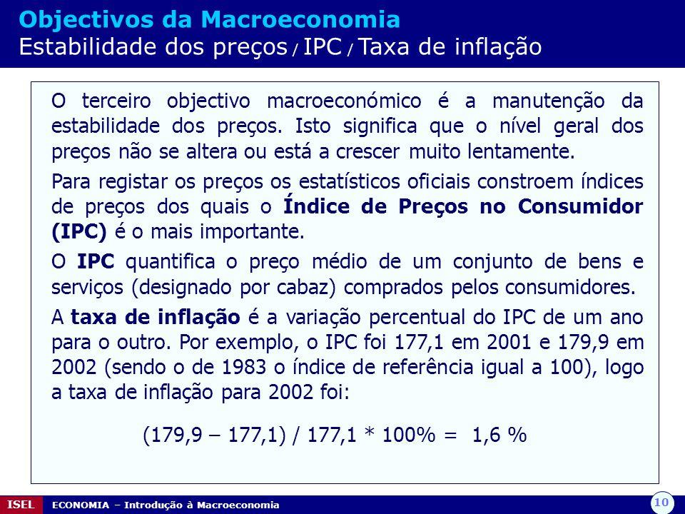 10 ISEL ECONOMIA – Introdução à Macroeconomia Objectivos da Macroeconomia Estabilidade dos preços / IPC / Taxa de inflação O terceiro objectivo macroe