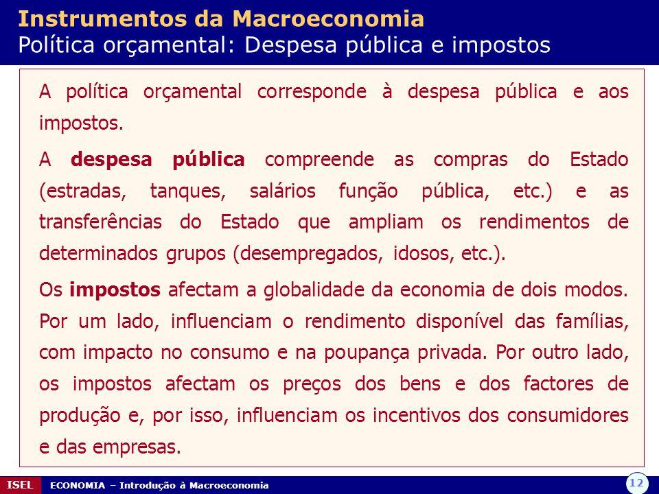 12 ISEL ECONOMIA – Introdução à Macroeconomia Instrumentos da Macroeconomia Política orçamental: Despesa pública e impostos A política orçamental corr