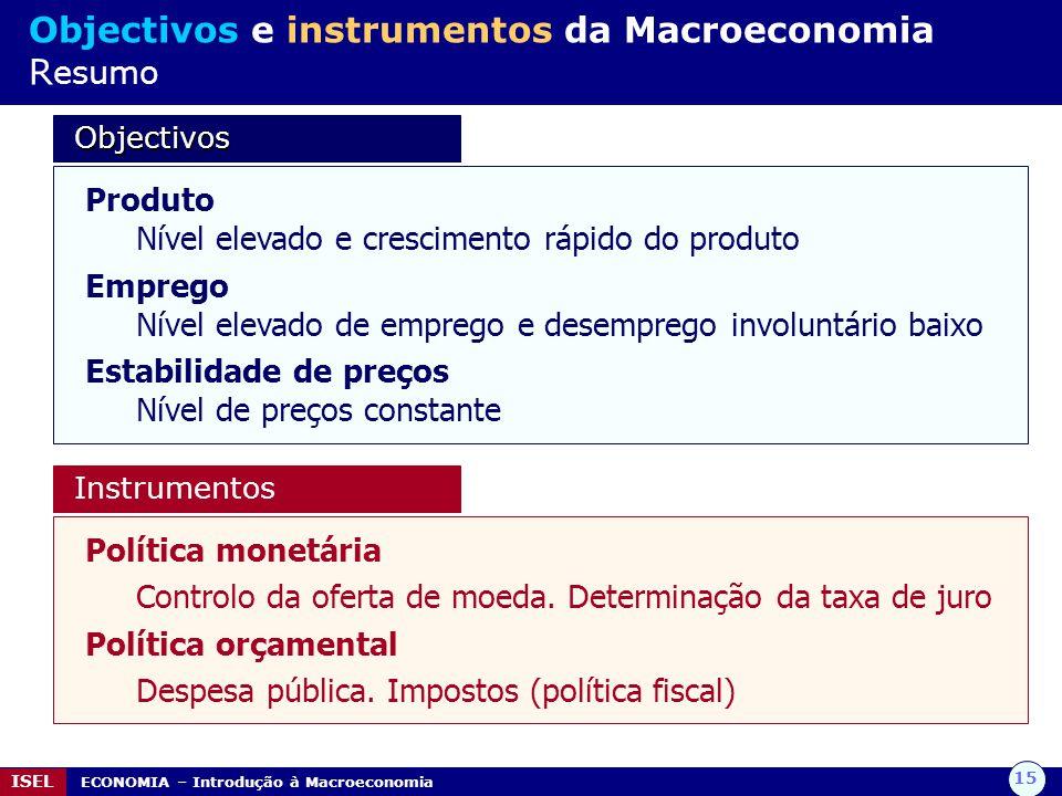 15 ISEL ECONOMIA – Introdução à Macroeconomia Objectivos e instrumentos da Macroeconomia R esumo Objectivos Objectivos Produto Nível elevado e crescim