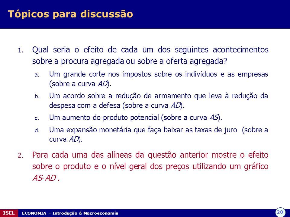 20 ISEL ECONOMIA – Introdução à Macroeconomia Tópicos para discussão 1. Qual seria o efeito de cada um dos seguintes acontecimentos sobre a procura ag