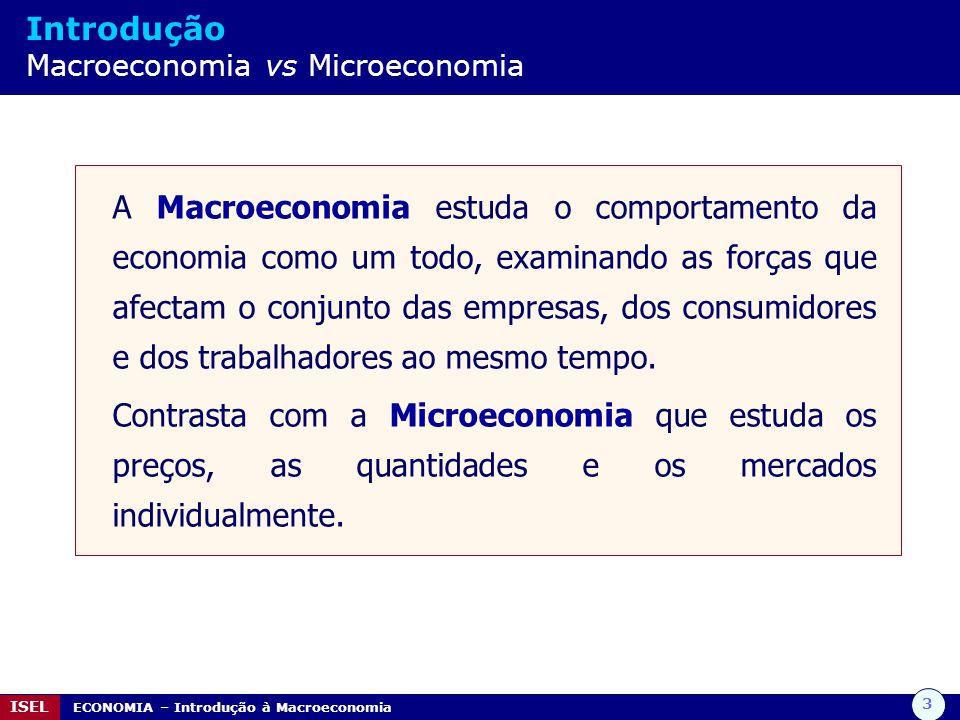 3 ISEL ECONOMIA – Introdução à Macroeconomia Introdução Macroeconomia vs Microeconomia A Macroeconomia estuda o comportamento da economia como um todo