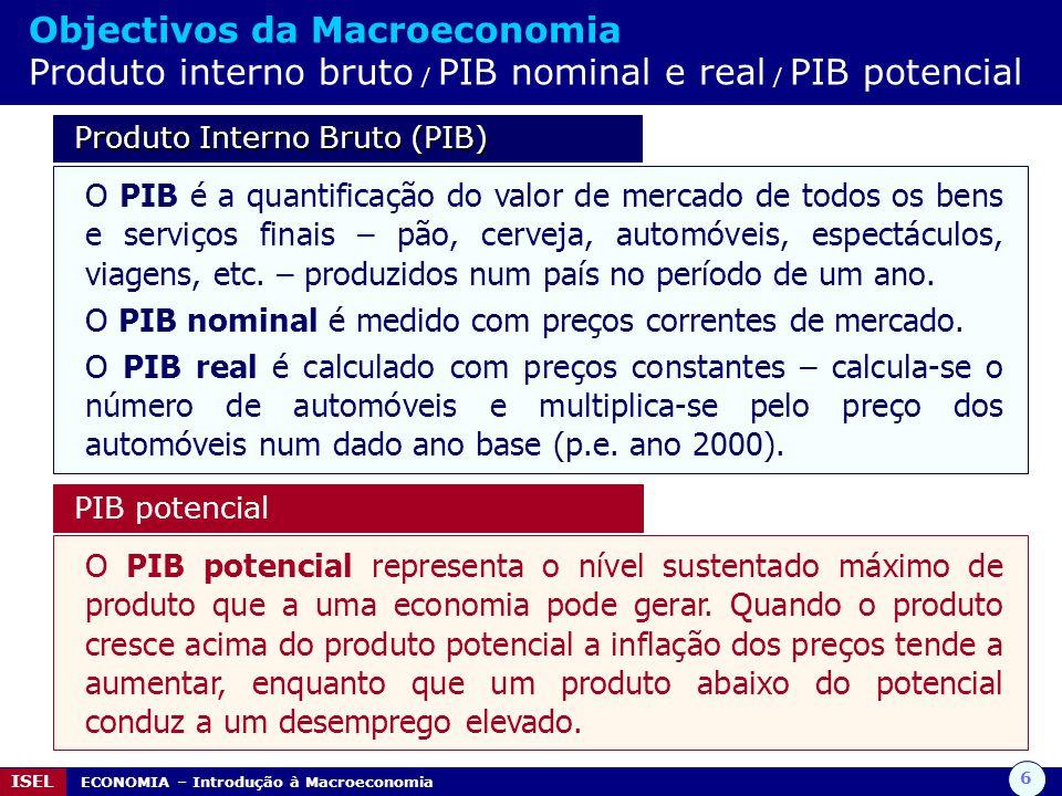 6 ISEL ECONOMIA – Introdução à Macroeconomia Objectivos da Macroeconomia Produto interno bruto / PIB nominal e real / PIB potencial Produto Interno Br