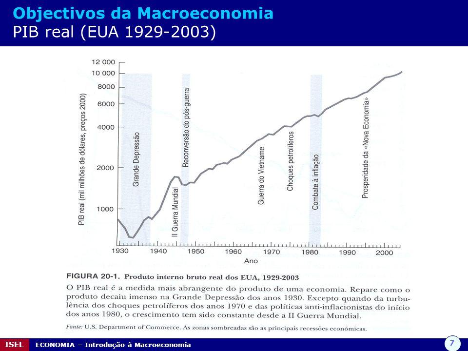 8 ISEL ECONOMIA – Introdução à Macroeconomia Objectivos da Macroeconomia Emprego / Desemprego / Taxa de desemprego De todos os indicadores macroeconómicos, o emprego e o desemprego são dos mais directamente sentidos pelas pessoas.