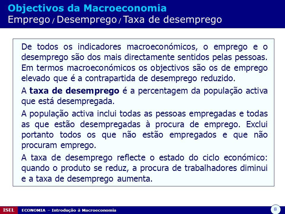 8 ISEL ECONOMIA – Introdução à Macroeconomia Objectivos da Macroeconomia Emprego / Desemprego / Taxa de desemprego De todos os indicadores macroeconóm