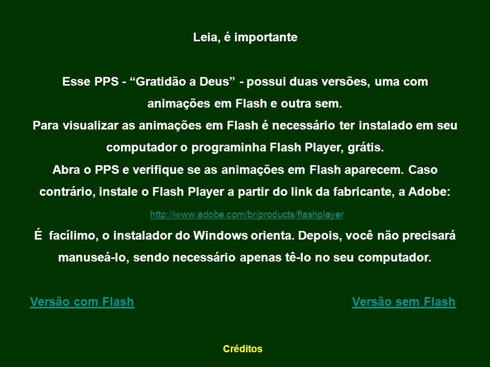 Leia, é importante Esse PPS - Gratidão a Deus - possui duas versões, uma com animações em Flash e outra sem.