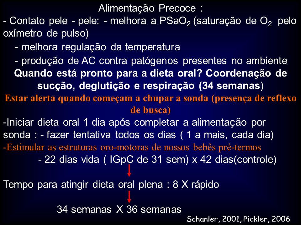 Alimentação Precoce : - Contato pele - pele: - melhora a PSaO 2 (saturação de O 2 pelo oxímetro de pulso) - melhora regulação da temperatura - produçã