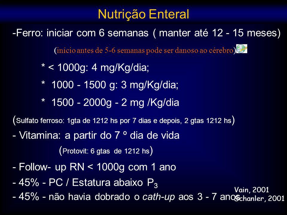 -Ferro: iniciar com 6 semanas ( manter até 12 - 15 meses) * < 1000g: 4 mg/Kg/dia; * 1000 - 1500 g: 3 mg/Kg/dia; * 1500 - 2000g - 2 mg /Kg/dia ( Sulfat