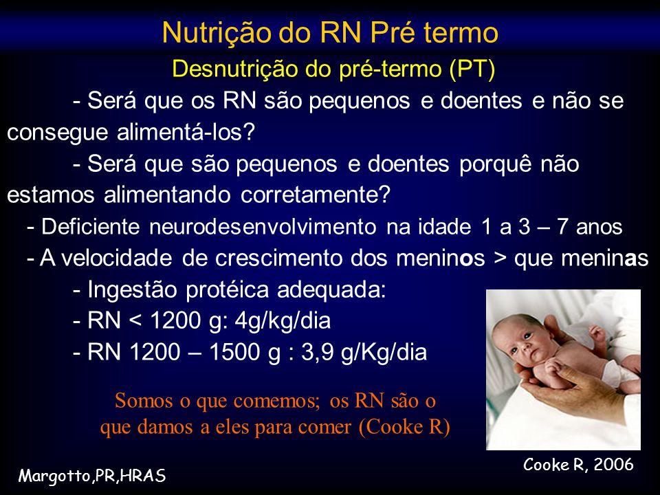 Desnutrição do pré-termo (PT) - Será que os RN são pequenos e doentes e não se consegue alimentá-los? - Será que são pequenos e doentes porquê não est