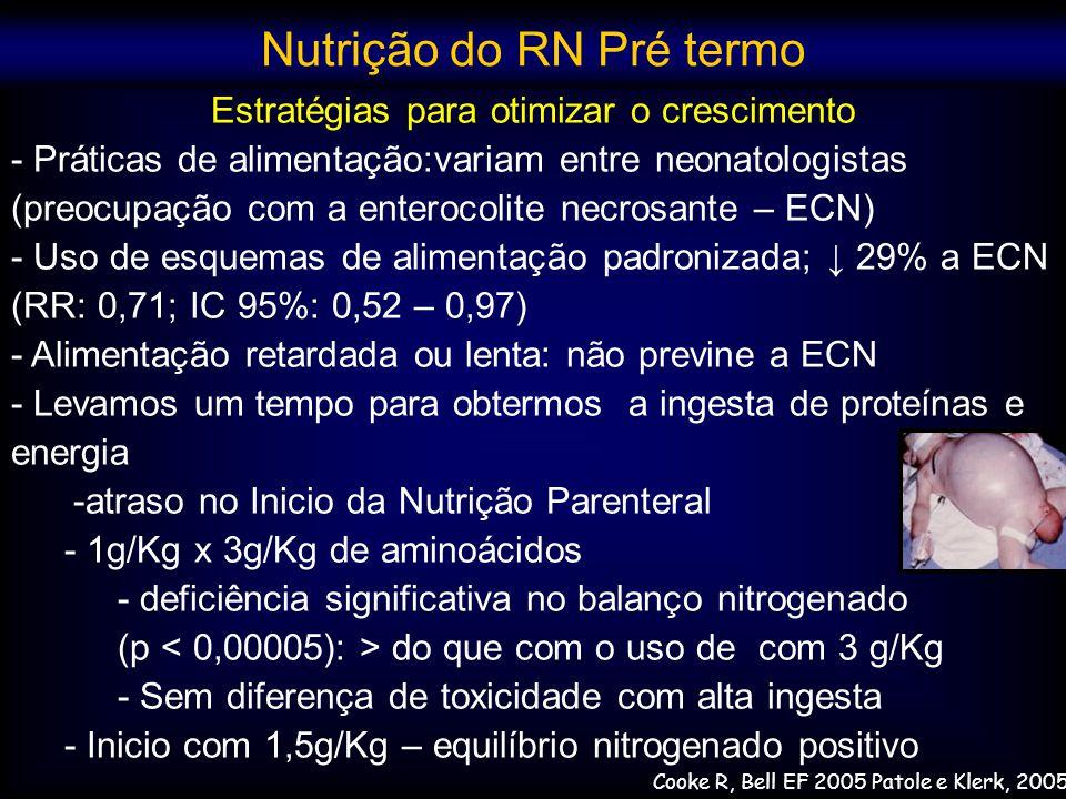 Estratégias para otimizar o crescimento - Práticas de alimentação:variam entre neonatologistas (preocupação com a enterocolite necrosante – ECN) - Uso