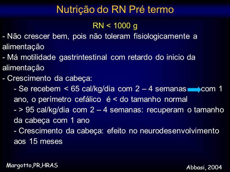 RN < 1000 g - Não crescer bem, pois não toleram fisiologicamente a alimentação - Má motilidade gastrintestinal com retardo do inicio da alimentação -