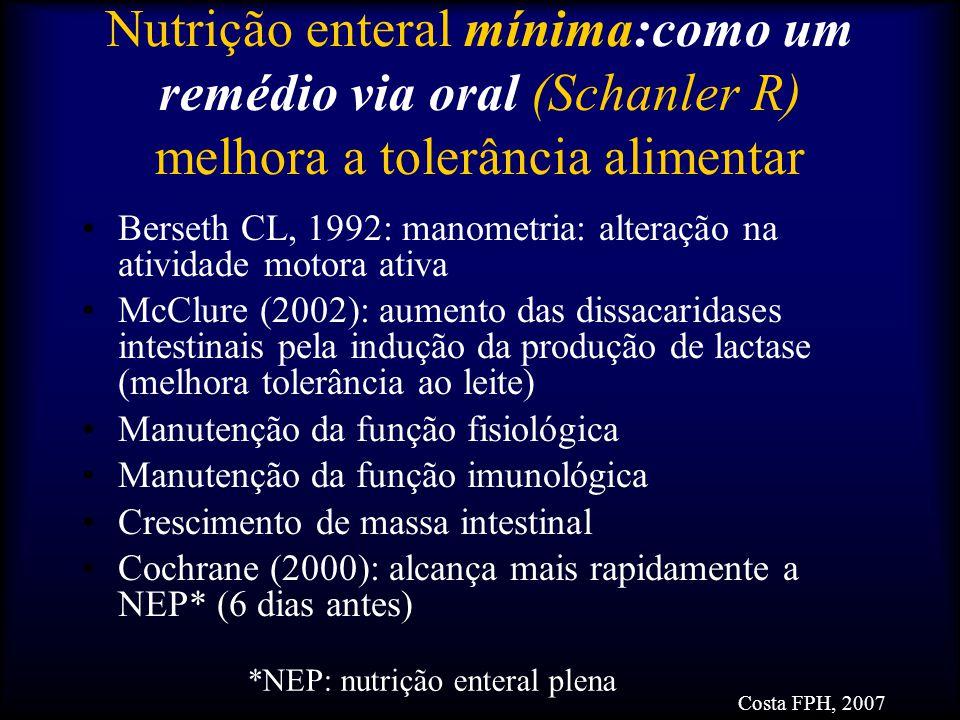 Nutrição enteral mínima:como um remédio via oral (Schanler R) melhora a tolerância alimentar Berseth CL, 1992: manometria: alteração na atividade moto