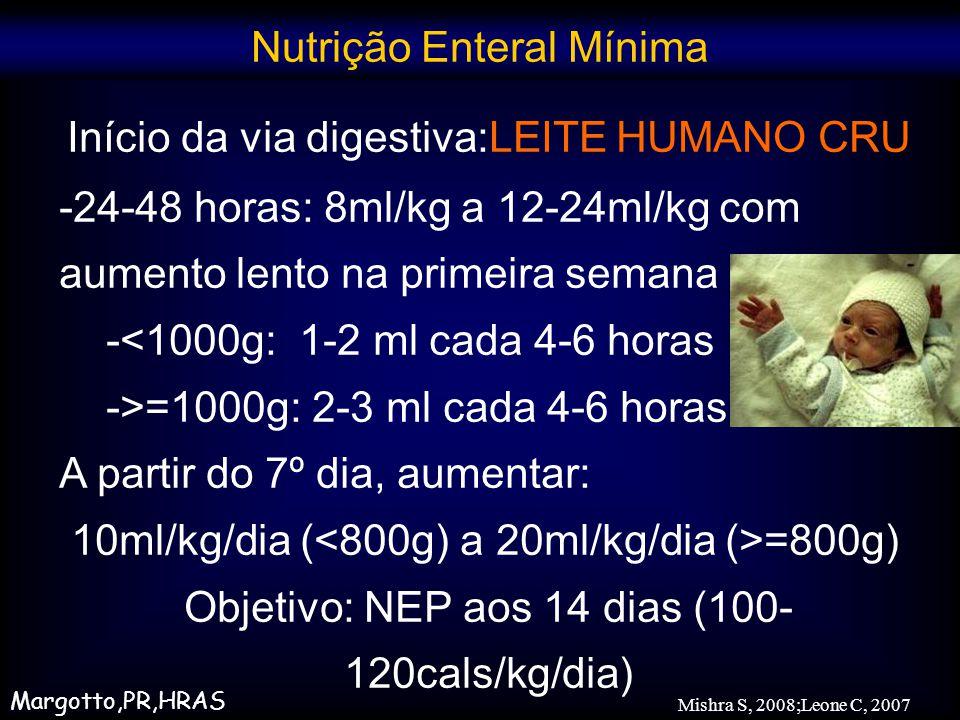 Início da via digestiva:LEITE HUMANO CRU -24-48 horas: 8ml/kg a 12-24ml/kg com aumento lento na primeira semana -<1000g: 1-2 ml cada 4-6 horas ->=1000