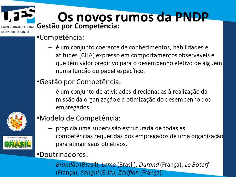 Os novos rumos da PNDP Gestão por Competência: Competência: – é um conjunto coerente de conhecimentos, habilidades e atitudes (CHA) expresso em compor