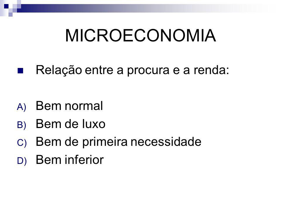 MICROECONOMIA Relação entre a procura e a renda: A) Bem normal B) Bem de luxo C) Bem de primeira necessidade D) Bem inferior
