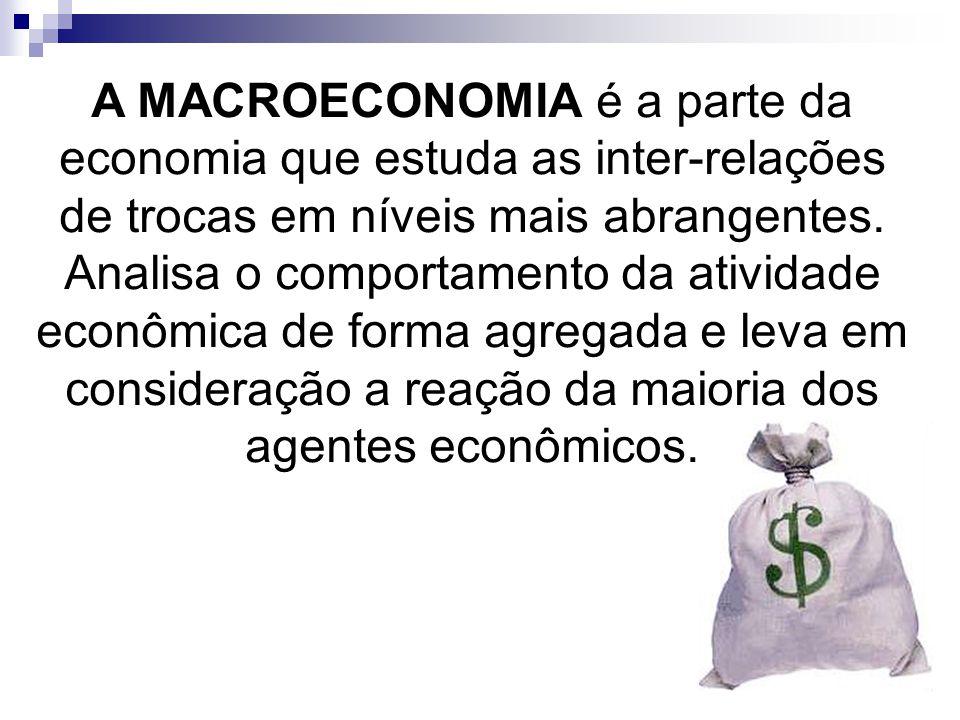 A MACROECONOMIA é a parte da economia que estuda as inter-relações de trocas em níveis mais abrangentes. Analisa o comportamento da atividade econômic