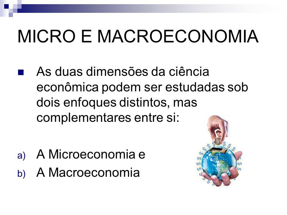 MICRO E MACROECONOMIA As duas dimensões da ciência econômica podem ser estudadas sob dois enfoques distintos, mas complementares entre si: a) A Microeconomia e b) A Macroeconomia