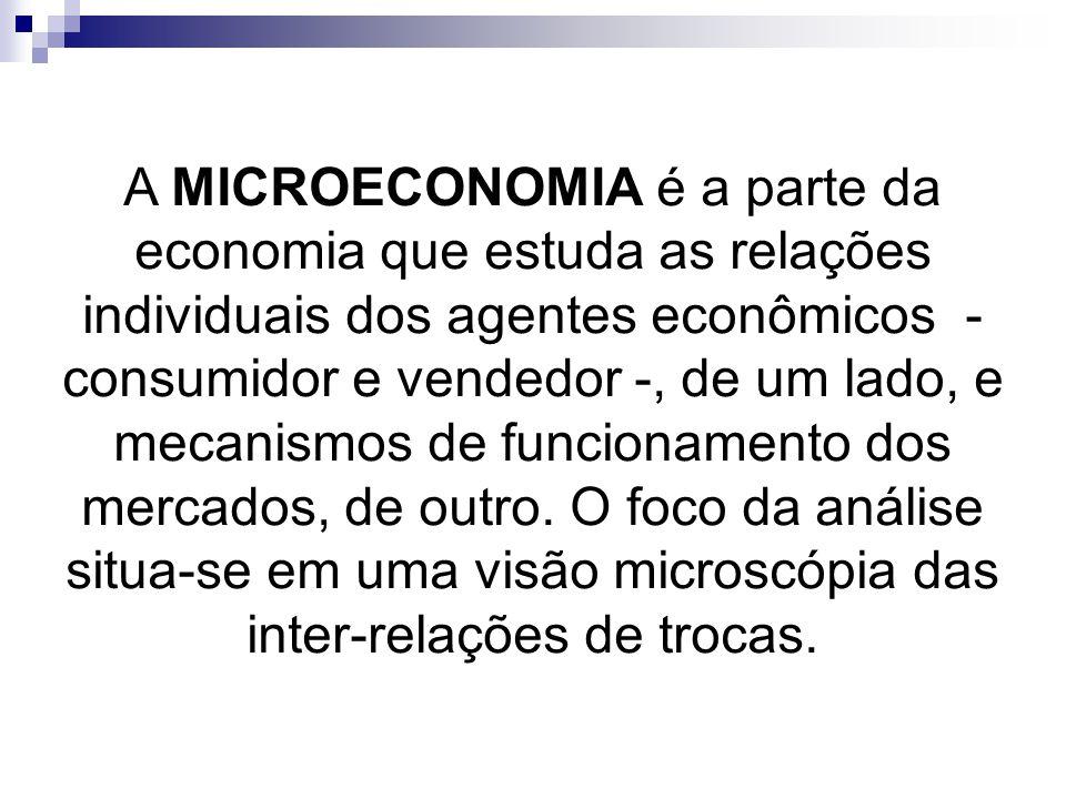 A MICROECONOMIA é a parte da economia que estuda as relações individuais dos agentes econômicos - consumidor e vendedor -, de um lado, e mecanismos de