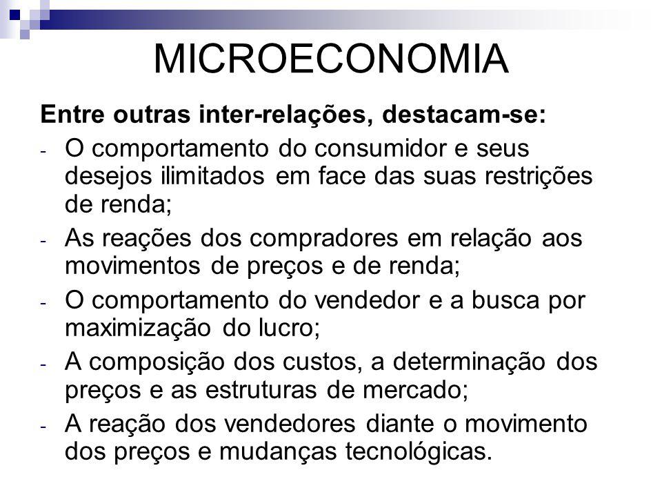 MICROECONOMIA Entre outras inter-relações, destacam-se: - O comportamento do consumidor e seus desejos ilimitados em face das suas restrições de renda