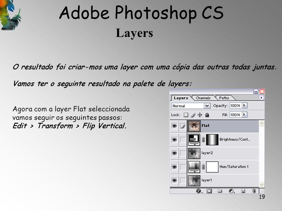 Adobe Photoshop CS Layers 19 O resultado foi criar-mos uma layer com uma cópia das outras todas juntas. Vamos ter o seguinte resultado na palete de la