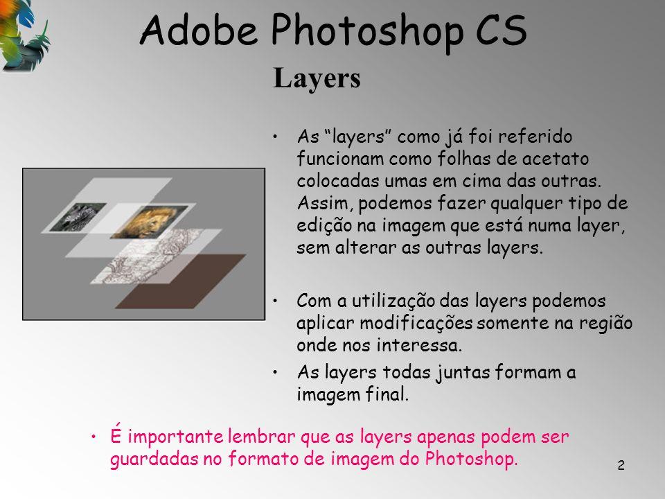 Adobe Photoshop CS Layers 2 As layers como já foi referido funcionam como folhas de acetato colocadas umas em cima das outras. Assim, podemos fazer qu