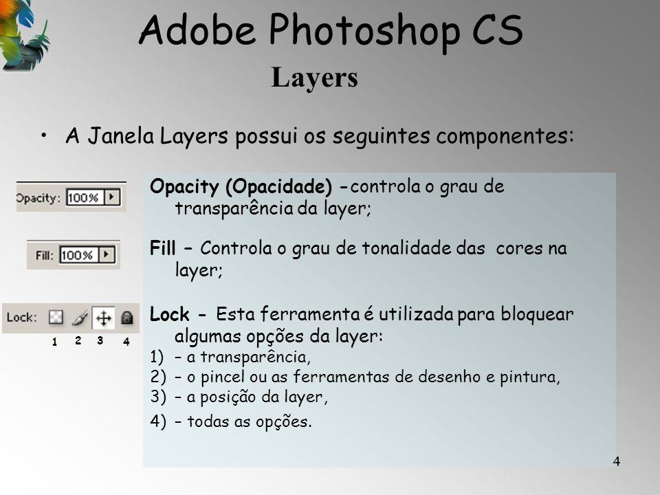 Adobe Photoshop CS Layers 5 Outras propriedades das layers: 1 2 1)Eye icon – este icon se estiver activado permite a visualização da layer se não estiver activado a lyer não fica visível; 2)layer mask icon - este icon se estiver activado significa que está uma camada da layer seleccionada; 3)Layer – Mostra a layer, o facto desta layer estar em xadrez significa que é transparente; 4)Link – Significa que a layer está ligada à mask (mascara) do lado direito; 5)Mask – A mask ou mascara está com linha dupla porque está seleccionada.
