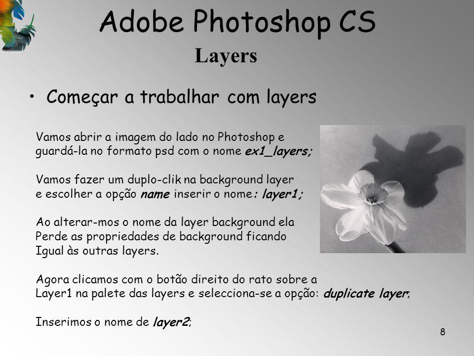 Adobe Photoshop CS Layers 8 Começar a trabalhar com layers Vamos abrir a imagem do lado no Photoshop e guardá-la no formato psd com o nome ex1_layers;